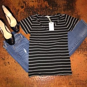 NWT Lucky Brand Black Stripe Fitted Tee